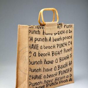 jute beach bag front flip cane handle