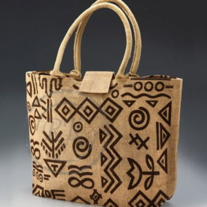 jute beach bag front flap Velcro