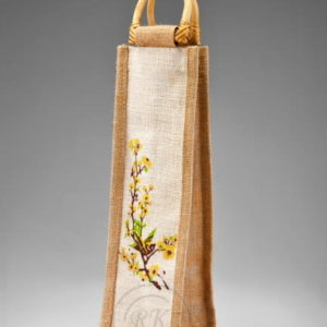 jute wine bag cane handle single bottle