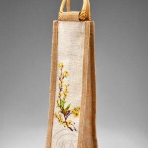 jute wine bag cane handle single bottle