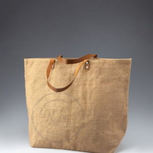 jute beach bag leather handle