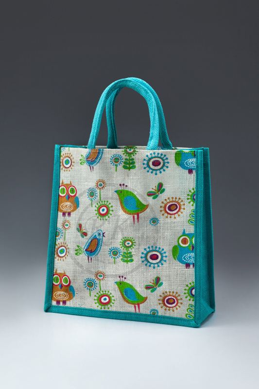 Jute Printed Bags Webbed Handle