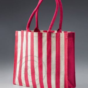 jute printed bag striped long handle