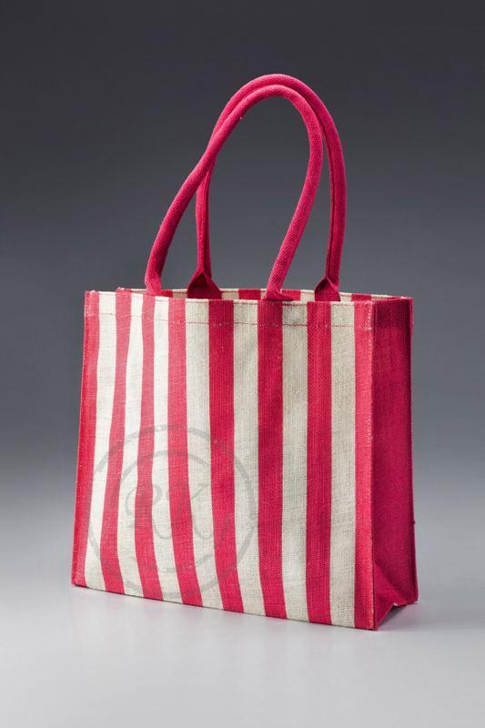 jute printed bag striped long handle