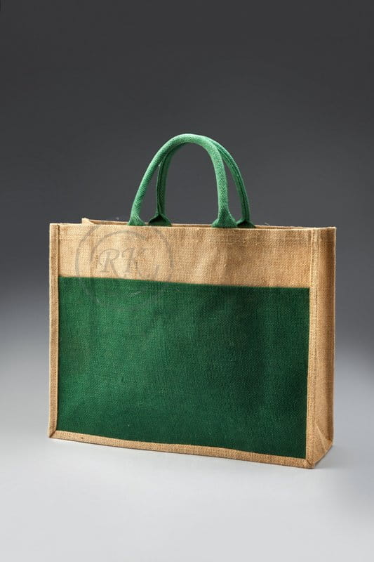 jute shopping bag cane with front pocket
