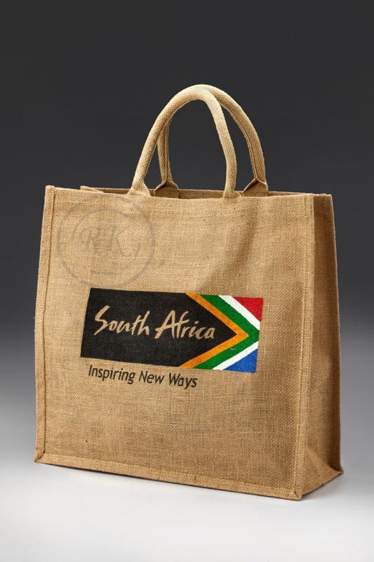 jute shopping bag cane with print