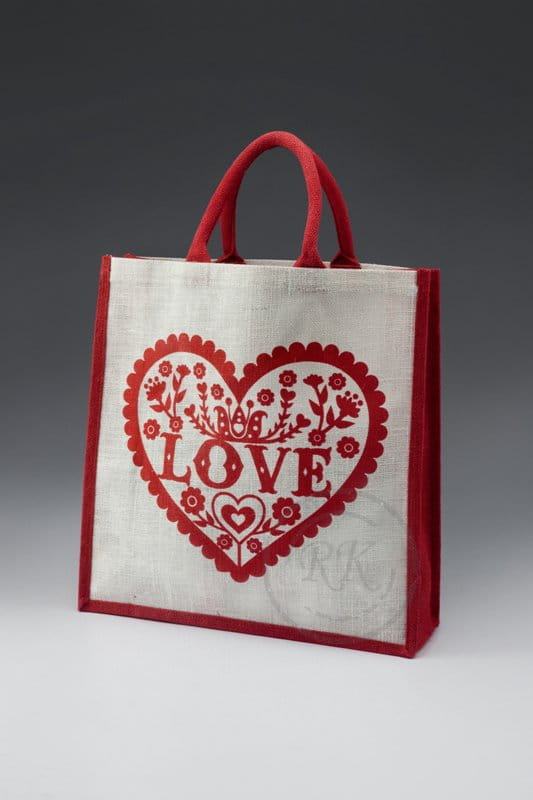 jute shopping big with love print