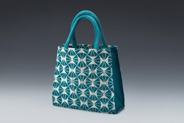 jute toy bag blue print