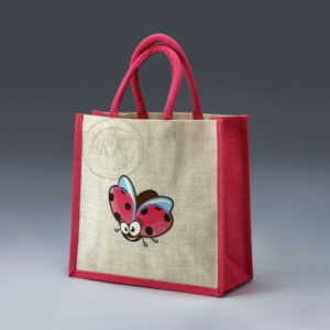 jute toy bag butterfly print