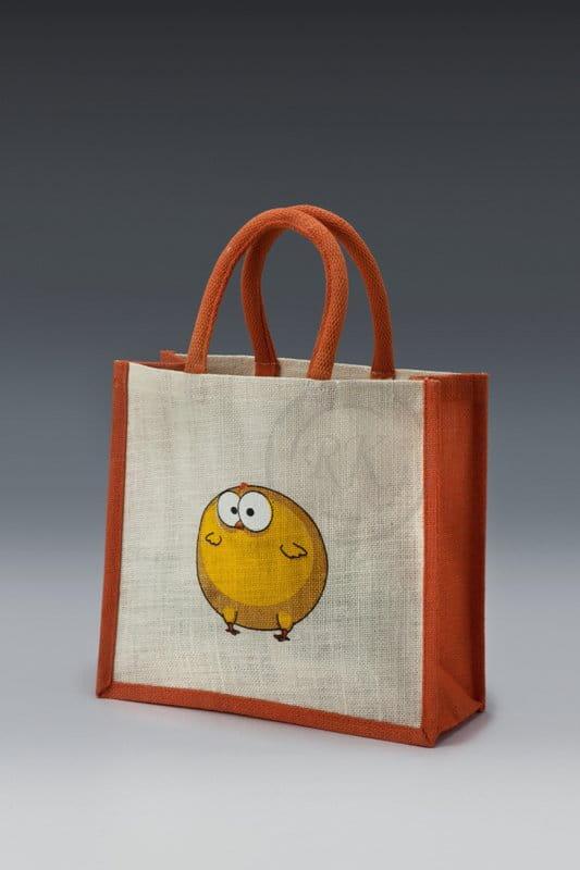 jute toy bag chicks print