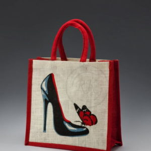 jute toy bag shoe print