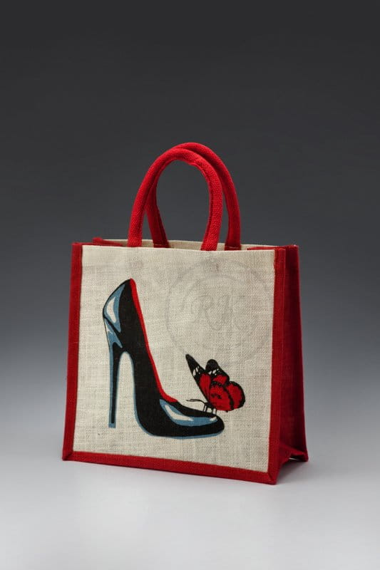 jute toy bag shoe print