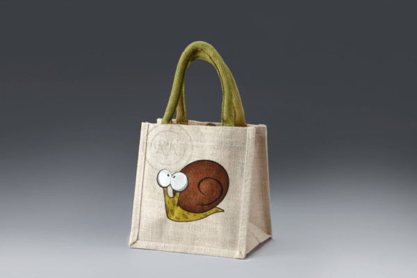 jute toy bag snail print wave padded