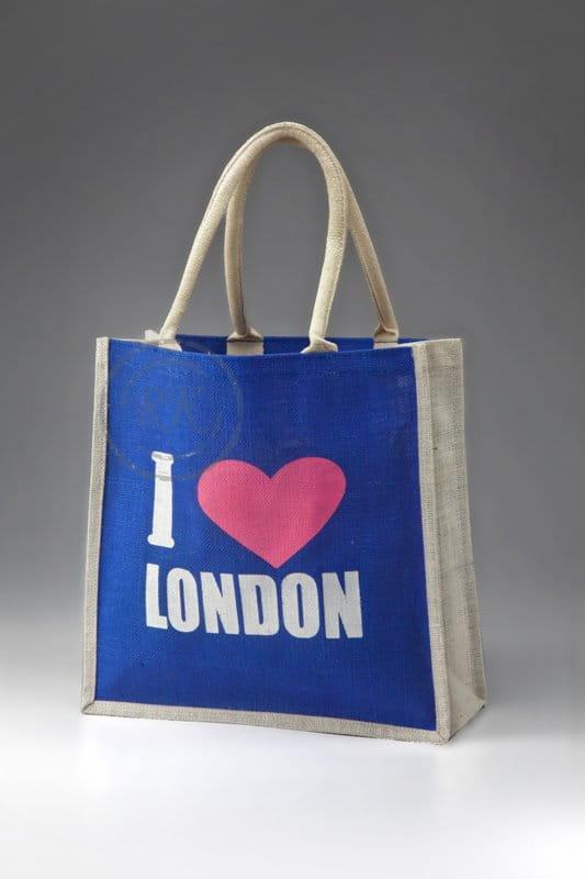 jute printed bag london print