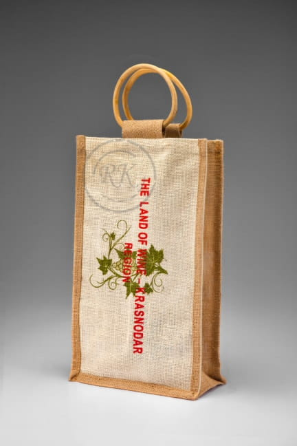 Jute wine bag cane handle 2 bottle