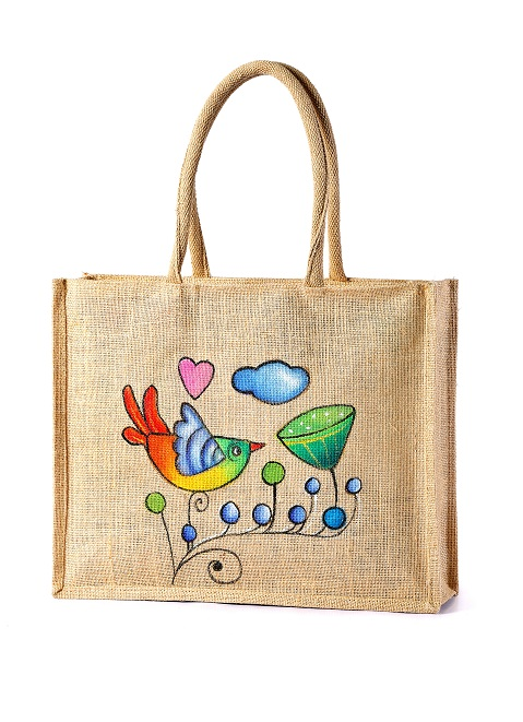 Hand Painted Jute Grocery bag