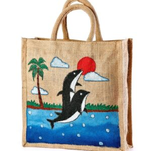 Jute hand painted bag Save planet