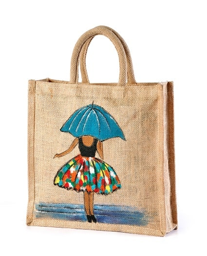 Jute hand painted bag lady with umbrella