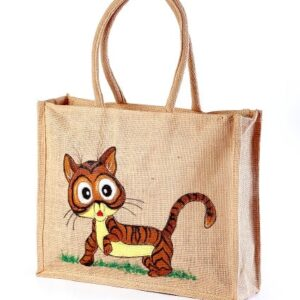 Jute hand painted bag save animal