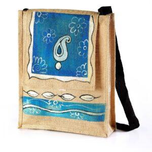 Jute Conference shoulder bag Blue Printed