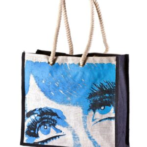 Jute Beach bag Blue Printed