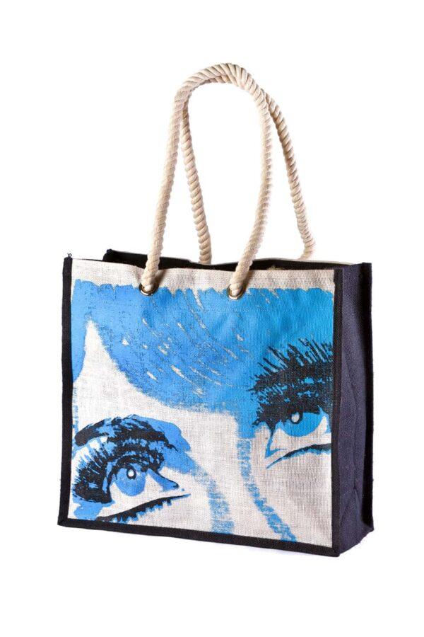 Jute Beach bag Blue Printed