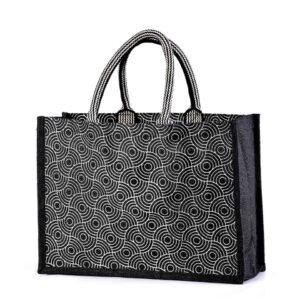 Jute Shopping Bag Printed Black