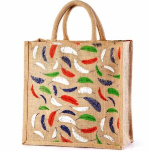 Jute Shopping bag Feather Printed