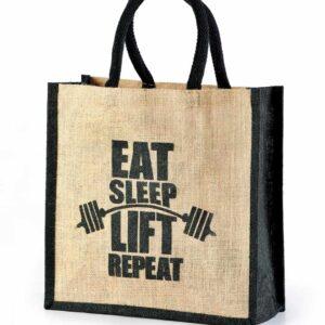 Jute Shopping Bag Two Side Black Printed
