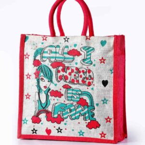 Jute Shopping Bag Red Printed