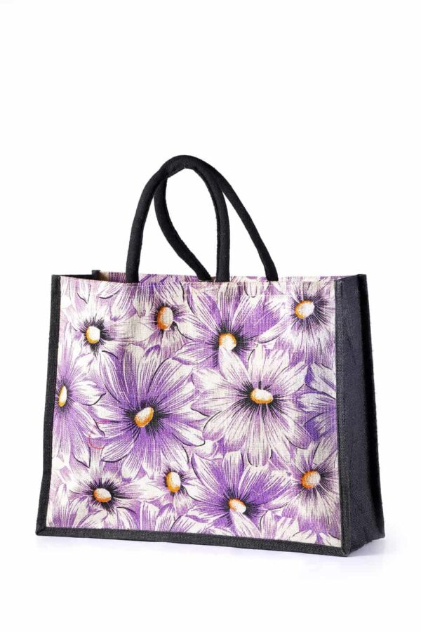Jute Shopping Bag Purple Flower Printed