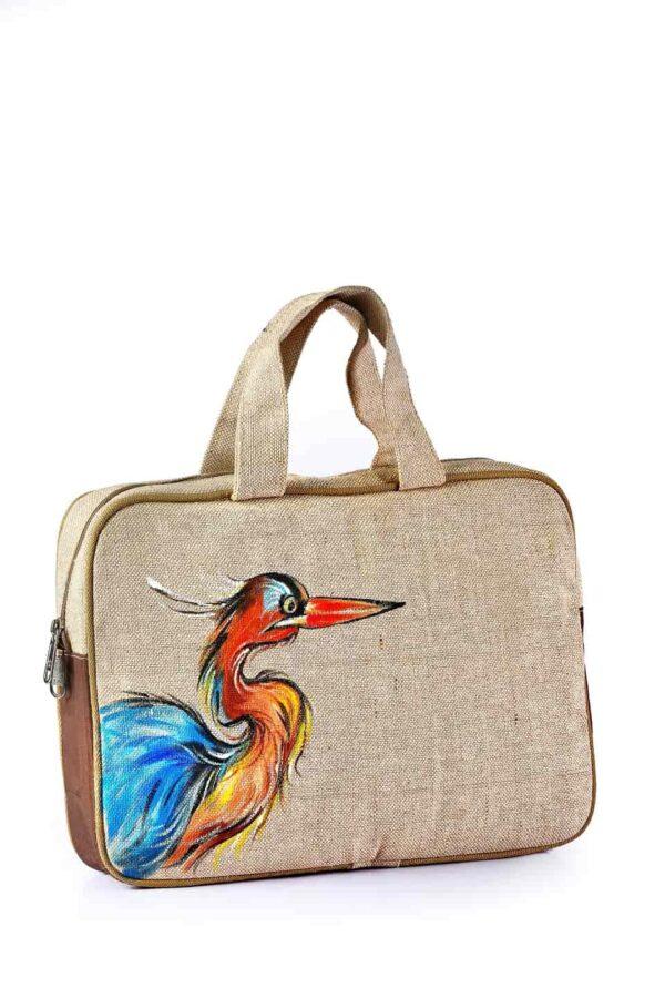 Jute Laptop bag Printed with Zipper