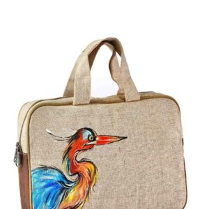 Jute Conference Hand Bag with Colorful Bird Printed