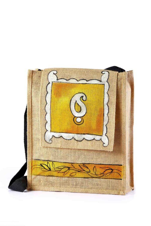 Jute Conference shoulder bag Yellow Printed