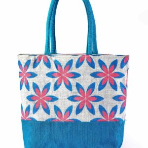Jute Fashion bag Printed Blue