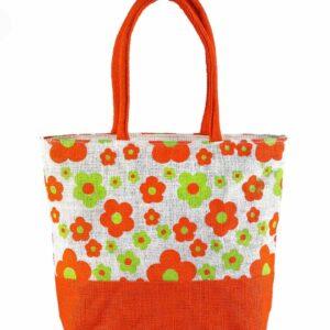 Jute Fashion bag Printed Orange