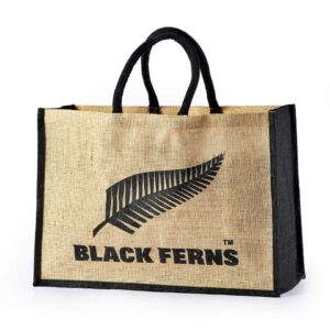 Jute Promotional Bag Black Ferns Printed