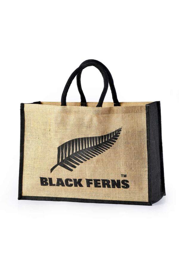 Jute Promotional Bag Black Ferns Printed