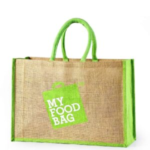 Jute Promotional Bag Two Side Green Printed