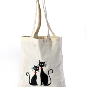 Cotton Beach Bag BlackCat Printed