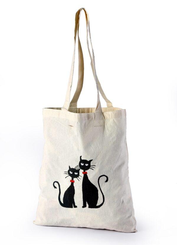 Cotton Beach Bag BlackCat Printed