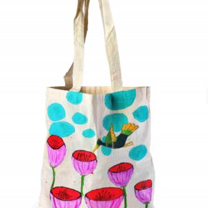 Cotton Beach Bag Bird Flower Printed