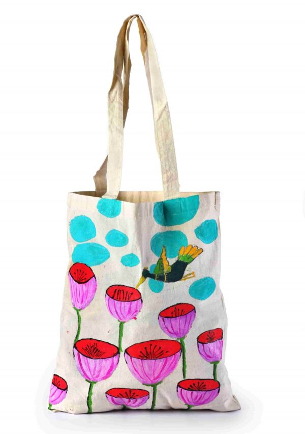 Cotton Beach Bag Bird Flower Printed