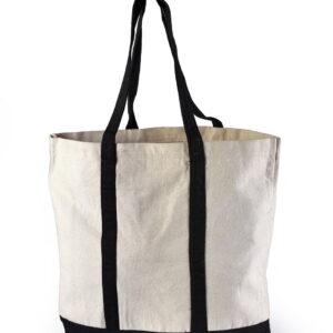 Canvas Beach Bag Black Handle