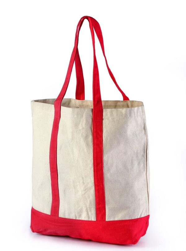 Canvas Tote Bag Red Handle