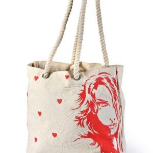 Canvas Beach Bag Red Art Printed