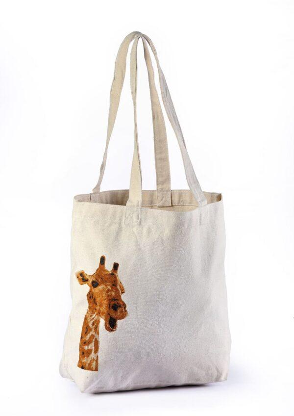 Canvas Beach Bag Giraffe Printed