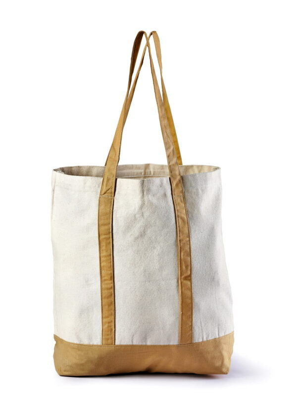 Canvas Beach Bag With Brown Handle