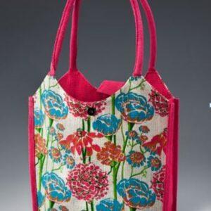 Jute Fashion bag Colorful Flowers Printed