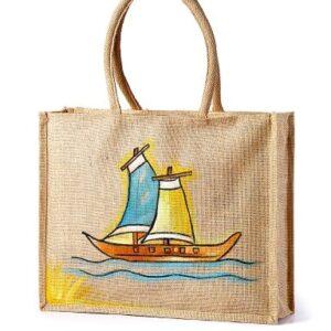 Jute Beach bag Boat Printed